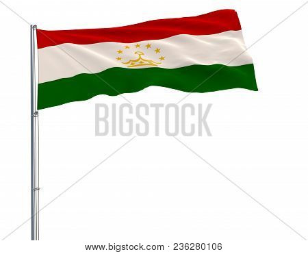 Isolate Flag Of Tajikistan On A Flagpole Fluttering In The Wind On A White Background, 3d Rendering