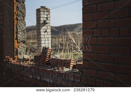 Abandoned building. Grunge building.  Architectural background. Outskirts. Grunge background. Grunge landscape. Grunge style.