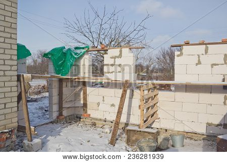 New Residential Brick House Construction. White Silicate Block House