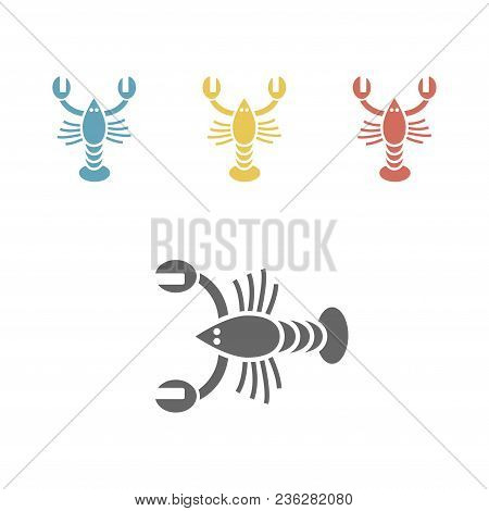 Crayfish Crustaceans Lobster Crawfish Flat Icon. Vector Sign For Web Graphics.