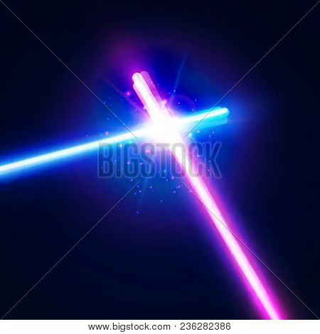 Glowing Rays In Space. Crossing Laser Sabers War. Abstract Background With Two Crossed Light Neon Sw