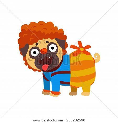 Funny Pug Dog Character Dressed As Carlson, Funny Dog With A Propeller Vector Illustration Isolated
