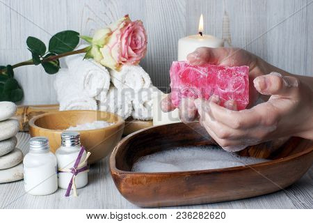 A Piece Of Soap In A Woman, The Process Of Washing Hands Before Spa Procedures For The Skin Of Hands