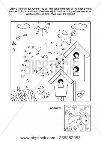 Springtime Themed Connect The Dots Picture Puzzle And Coloring Page With Birds, Birdhouses And Nestl