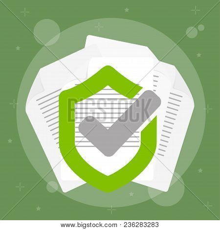Secured Data With Paper Document And Guard Shield,  Doc Roll Protection, Confidential Information An