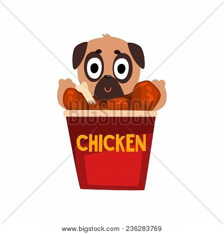 Cute Pug Dog Inside A Basket Of Fried Chicken Wings, Funny Dog Character Inside Fast Food Product Ve