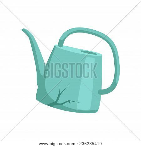 Broken Watering Can, Recycling Garbage Concept, Utilize Waste Vector Illustration Isolated On A Whit