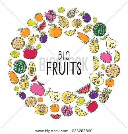 Vector Illustration With Hand Drawn Fruit. Healthy Food Concept, Various Organic Product In A Circle