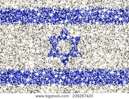 State Of Israel Sparkling Flag. Icon With Israeli National Colors With Glitter Effect In Official Pr