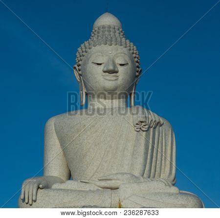 Big Buddah Close-up, Phuket Under Clear Blue Sky