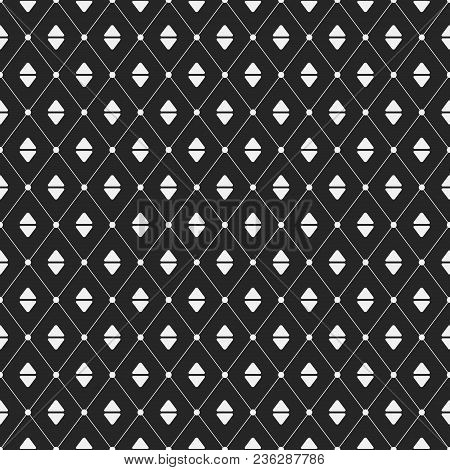 Vector Monochrome Seamless Pattern. Repeating Rhombuses With Rounded Triangles Inside. Dots Connecte