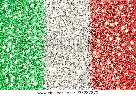 Italian Republic Sparkling Flag. Icon With Italy National Colors With Glitter Effect In Official Pro