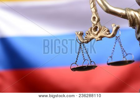 Law And Justice, Legality Concept, Scales Of Justice, Justitia, Lady Justice In Front Of The Russian