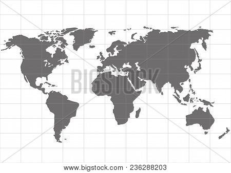 Vector World Map With Continent On A White Background. Vector Illustrations
