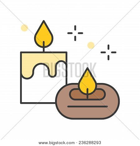 Aroma Candle And Aroma Lamp, Filled Outline Icon