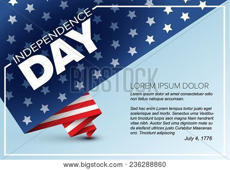 minimalistic vector independence day poster flyer template folded american flag