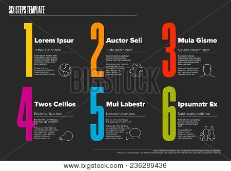 One Two Three Four Five Six - Vector Dark Progress Steps Template With Descriptions And Icons