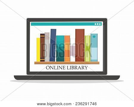 Bookshelves With Book On Computer Screen Online Library Education Concept