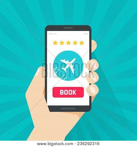 Flight Tickets Online From Smartphone Vector Illustration, Flat Cartoon Mobile Phone With Plane And