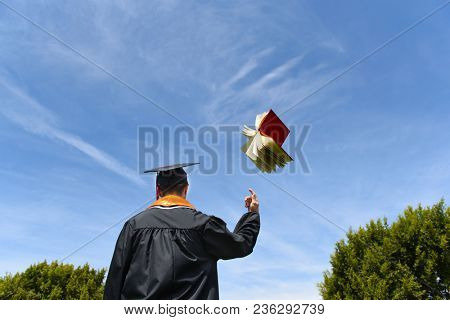 A male graduate in cap and gown with back to the camera tosses a text book in the air. Blue sky background with two trees.