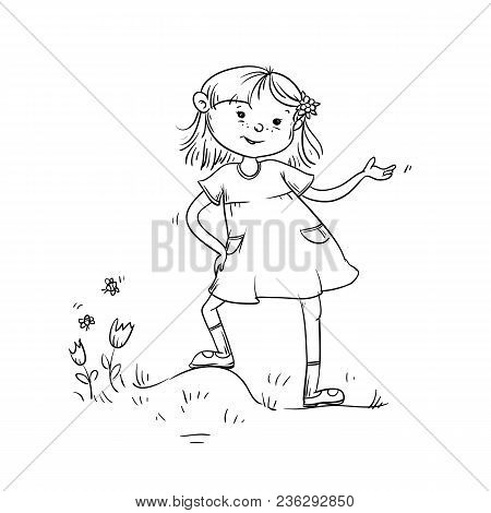 Vector Sketch Girl Teenager Worth Important And Says. Child In Dress On Meadow With Grass, Flowers A