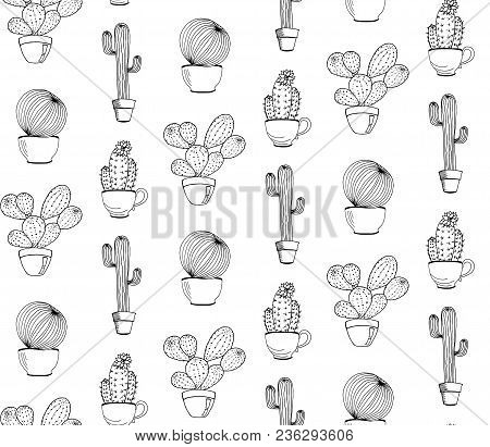 Vector Cactus Flower Background. Seamless Pattern With Cactus In Pot. Cartoon Hand Drawn Cactus.