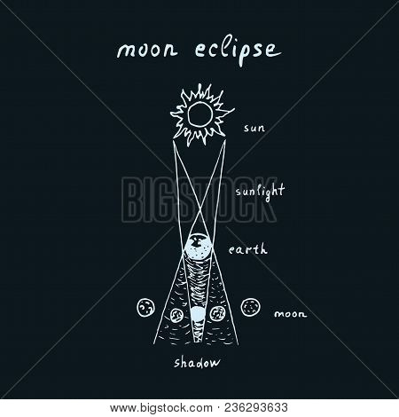 Vector Outline Of Hand Drawn Lunar Eclipse With Lettering Composition Moon Eclipse. Sketch Moon Ecli