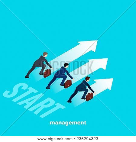 People In Business Suits At The Start, An Image In Isometric Style