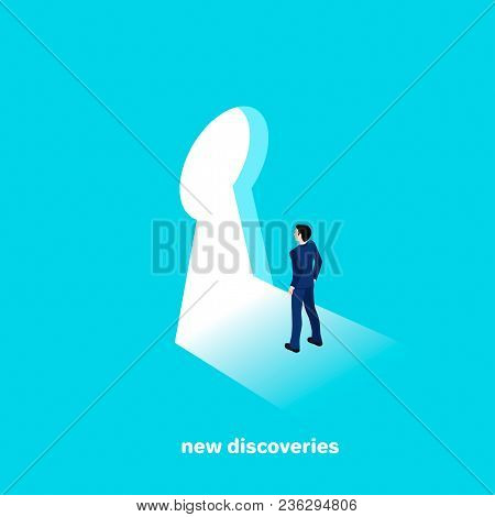 Man In A Business Suit Goes To New Discoveries, Isometric Style