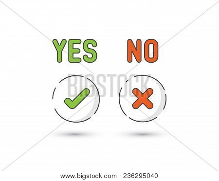 Set Of Fresh Minimalist Icons For Various Status - Yes, No, Accept, Cancel