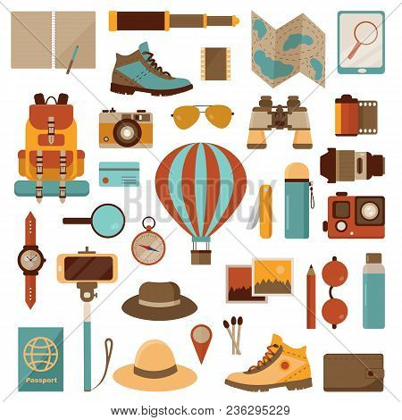 Air Balloon Travel Or Expedition Icons. Adventure, Discovering And Hiking Kit. Air Trip Collection W