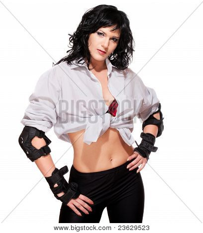 Woman In Shirt With Sports Shielding