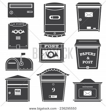 Vintage And Modern Mail Postboxes And Mailboxes Icons. Outline Monochrome Letterboxes With Envelope