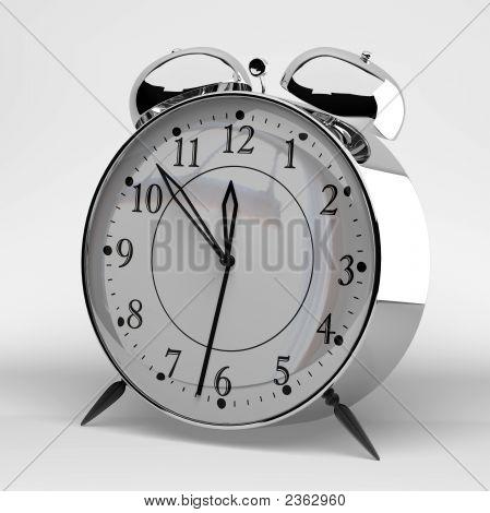 Metallic Alarm Clock On Grey Background