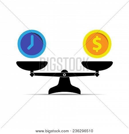 Money And Time Balance. Scale Icon. Vector Illustration