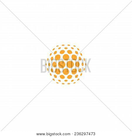 Orange Sun Icon, Abstract Dotted Sign, Digital Innovate Vector Logo