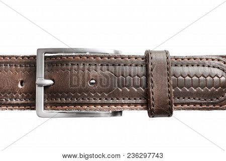 Brown Leather Belt With Metal Buckle Closeup On White Background