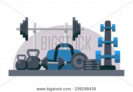 Bodybuilding Equipment. Flat Design Icons On Fitness Gym Exercise Equipment And Healthy Lifestyle Ex