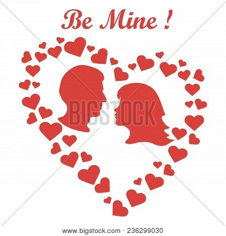 Men And Women In Hearts Be Mine. Valentine's Day