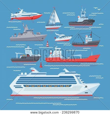 Ships Vector Boats Or Cruise Travelling In Ocean Or Sea And Shipping Transportation Illustration Mar