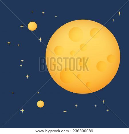Planet In Space , Yellow Moon With Stars, Space Planet With Craters In The Universe, Vector Illustra