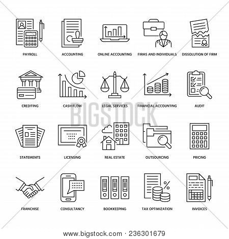 Financial Accounting Flat Line Icons. Bookkeeping, Tax Optimization, Firm Dissolution, Accountant Ou