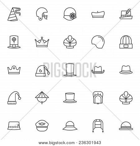 Headdress Accessories Outline Icons Set