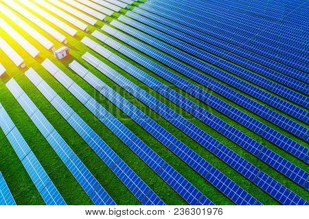 Solar Energy Farm. High Angle View Of Solar Panels On An Energy Farm.