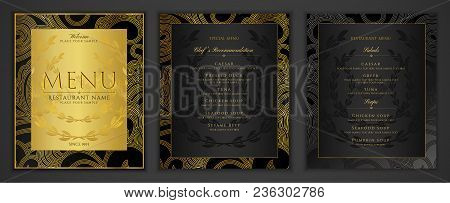 Design Restaurant Menu Template In Black Color With Gold Frame Pattern (border). Elegant Luxe Black