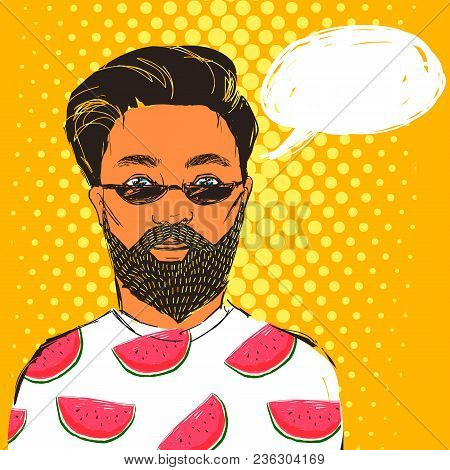 Hand Drawn Hipster Man In Dark Sunglasses With Beard And Mustache Dressed In T-shirt With Watermelon