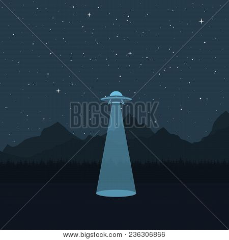 Ufo. A Spaceship In The Background Of A Mountain Landscape, A Dark Starry Sky. Vector Illustration.