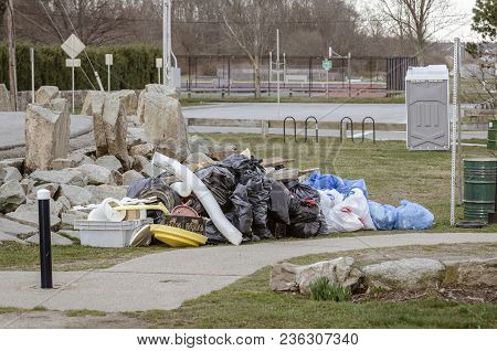 Mound Of Trash Collected By Volunteers Along Fort Phoenix Shoreline In Fairhaven, Massachusetts