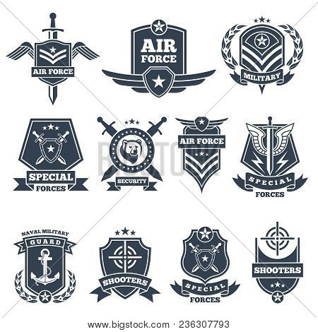 Military Logos And Badges. Army Symbols Isolated On White Background. Military Badge, Special Force