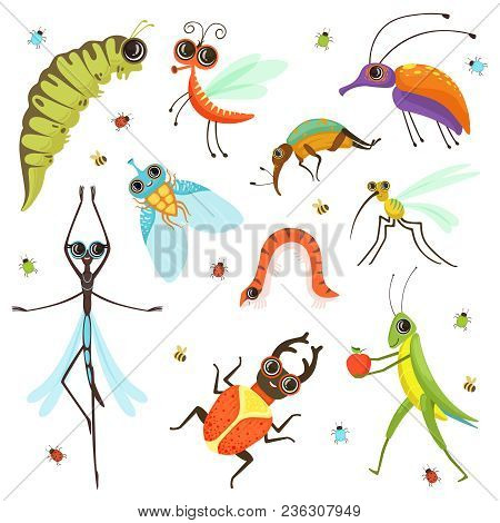Set Of Funny Cartoon Insects Isolate On White. Vector Insect Cartoon, Beetle And Caterpillar Illustr